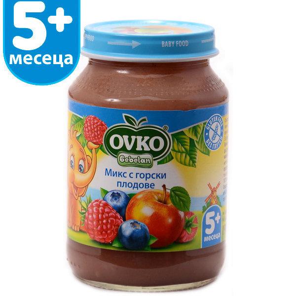 Овко Бебешко плодово пюре Асорти /горски плод - малина, боровинка/ 5м.190гр. 3846